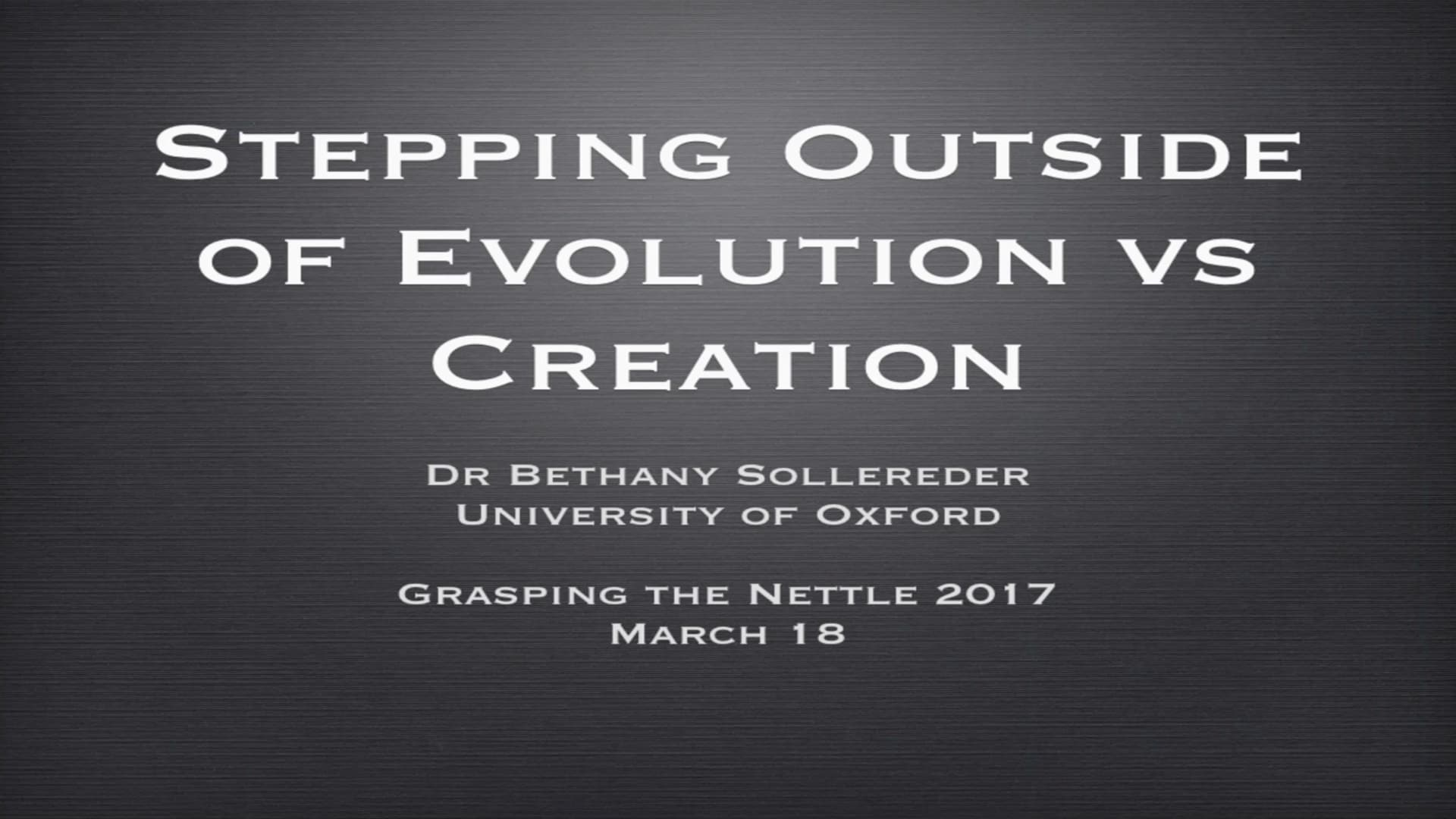 Stepping Outside of Evolution vs Creation